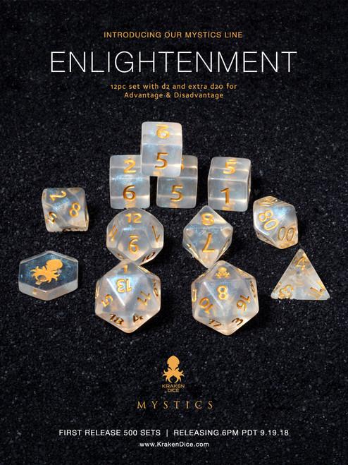 Enlightenment Mystics 12pc DnD Dice Set With Kraken Logo