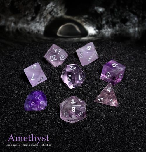 Amethyst Semi-precious Gemstone Dice Set