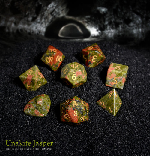 Unakite Semi-precious Gemstone Dice Set