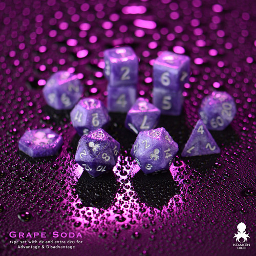 Grape Soda 14pc DnD Dice Set With Kraken Logo