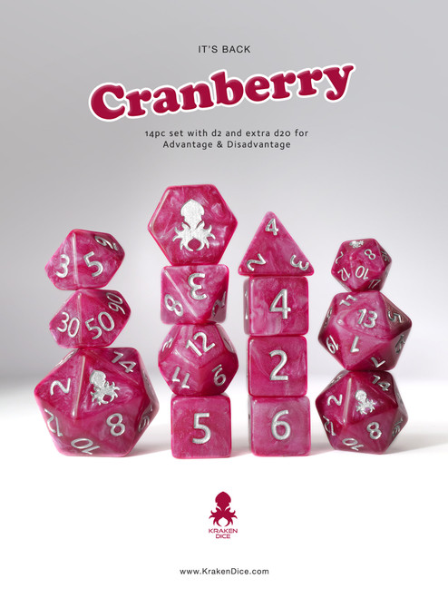 Cranberry 14pc DnD Dice Set With Kraken Logo