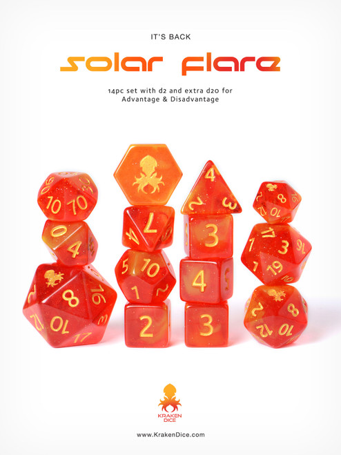 Solar Flare 14pc DnD Dice Set With Kraken Logo