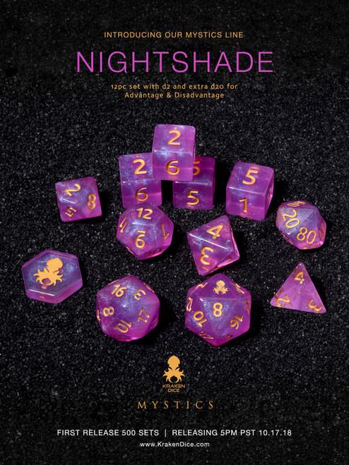 Nightshade Mystics 12pc DnD Dice Set With Kraken Logo
