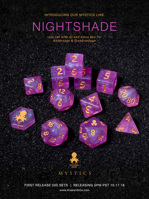 Nightshade Mystics 12pc DnD Dice Set With Kraken Logo
