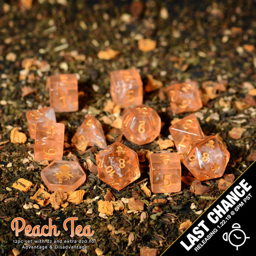 Peach Tea 12pc DnD Dice Set With Kraken Logo