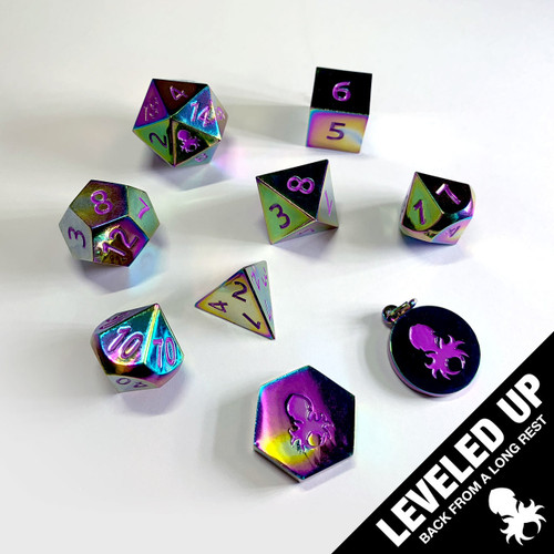 Forged in Fire Rainbow Metal RPG Dice Set With Iconic Purple Kraken Logo