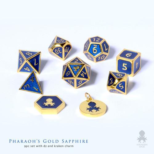 Pharaoh's Gold Sapphire Metal RPG dice for D&D