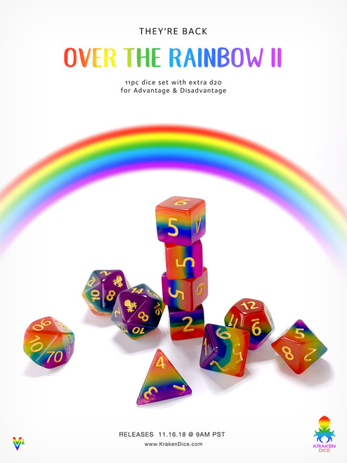 Over The Rainbow II 11pc Dice Set With Kraken Logo