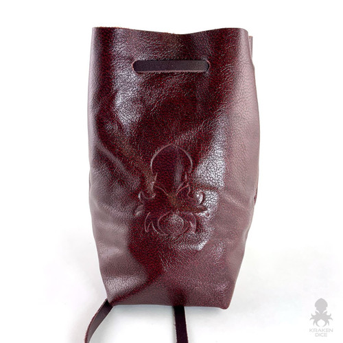 Freestanding Large Dice Bag In Oxblood Leather