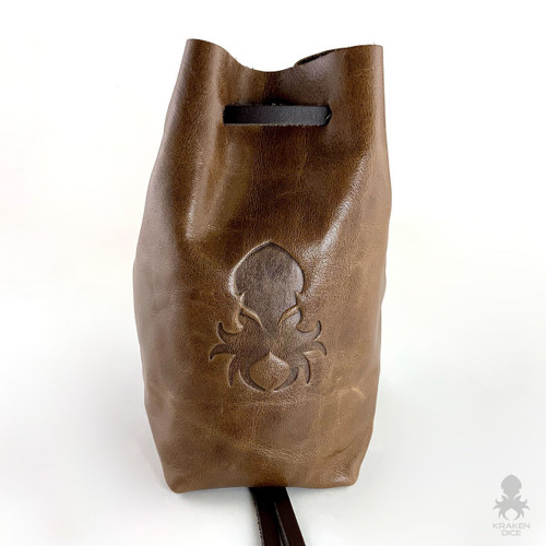 Freestanding Large Dice Bag In Tan Leather