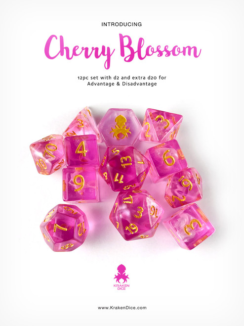 Cherry Blossom 12pc DnD Dice Set With Kraken Logo