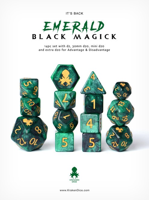 Emerald Black Magick With Gold Ink 12pc Dice Set