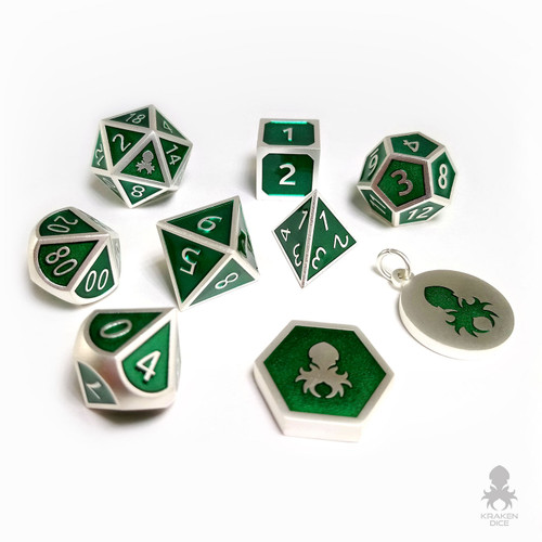 Snake Charmer Silver and Green 9 pc Metal Dice for D&D