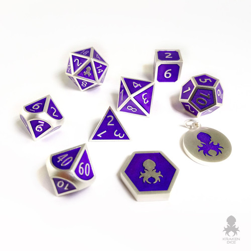 Emperor Purple and Silver 9 pc Metal Dice for D&D