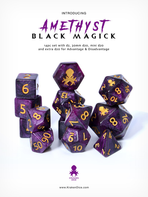Amethyst Black Magick 12pc DnD Dice Set With Kraken Logo