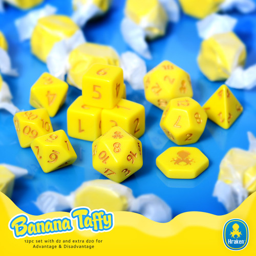 Kraken Sweets Banana Taffy 12pc Matte DnD Dice Set With Kraken Logo