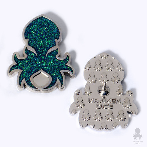 Kraken Logo Lapel Pin in Holo-Glitter Green
