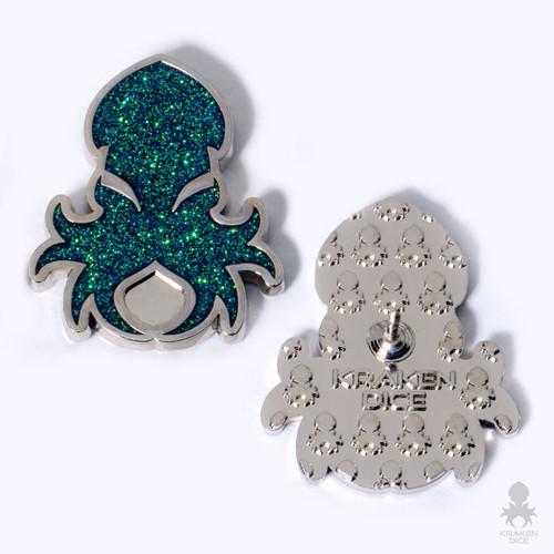 Kraken Logo Lapel Pin in Holo-Glitter Green