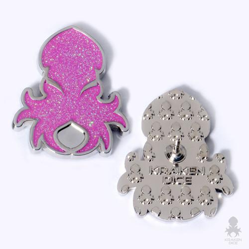 Kraken Logo Lapel Pin in Holo-Glitter Pink