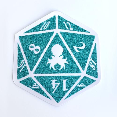 Kraken Logo Teal Glitter D20 Sticker