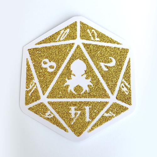 Kraken Logo Gold Glitter D20 Sticker