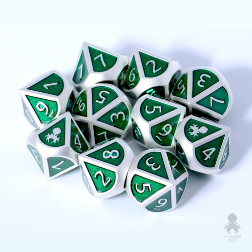10pc Snake Charmer Metal D10 with Kraken Logo Dice Set for RPGs