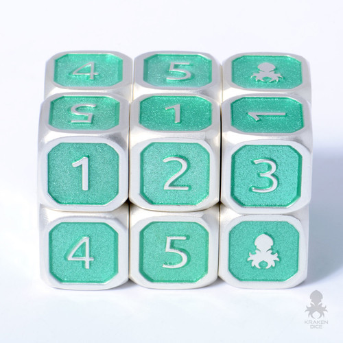 6pc Teal and Silver 12mm Metal D6 with Kraken Logo Dice Set for RPGs