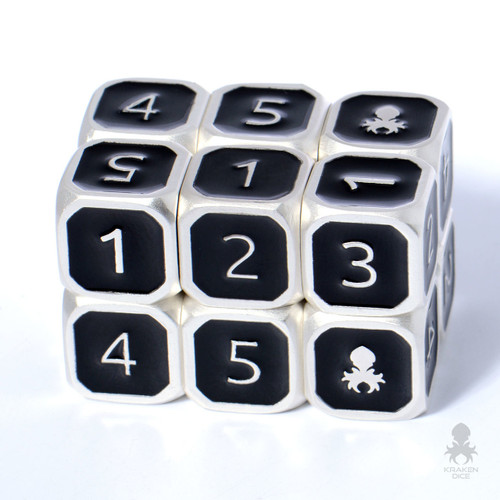 6pc Black and Silver 12mm Metal D6 with Kraken Logo Dice Set for RPGs