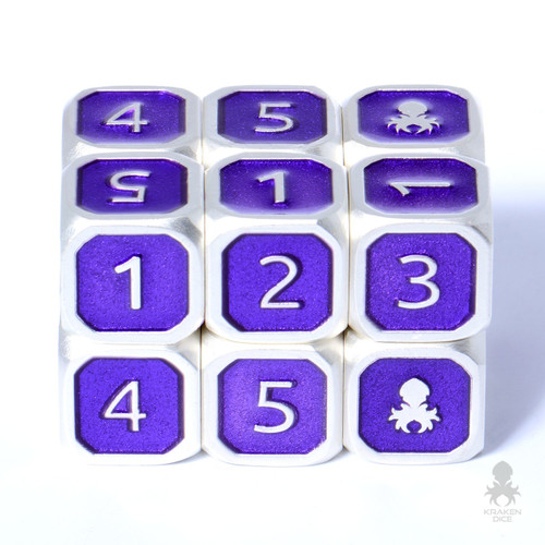 6pc Emperor 12mm Metal D6 with Kraken Logo Dice Set for RPGs