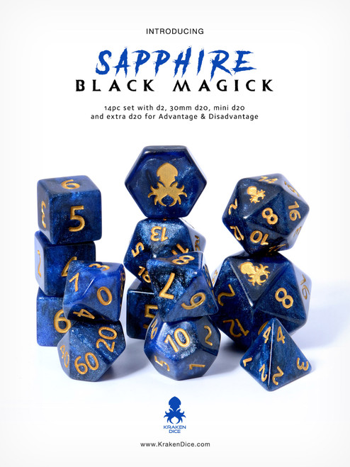 Sapphire Black Magick 14pc DnD Dice Set With Kraken Logo