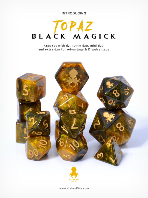 Topaz Black Magick 14pc DnD Dice Set With Kraken Logo
