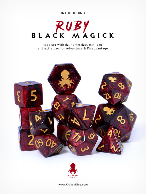 Ruby Black Magick 12pc DnD Dice Set With Kraken Logo