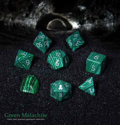 Green Malachite Semi-Precious 8 pc Glass Dice Set for RPGs
