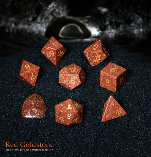 Red Goldstone Semi-Precious 8 pc Glass Dice Set for RPGs
