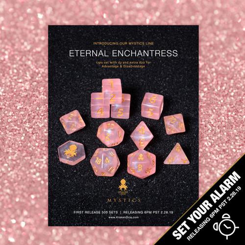 Eternal Enchantress Mystics 12pc DnD Dice Set With Kraken Logo