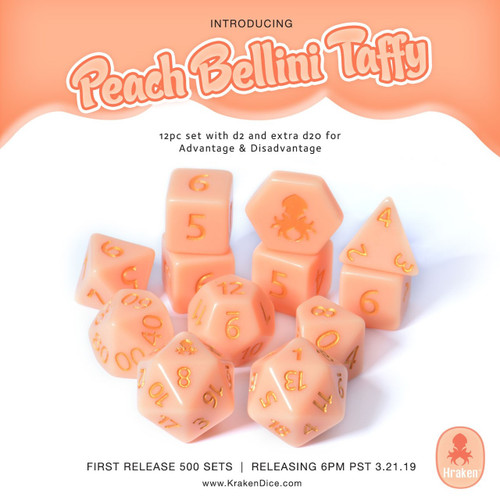 Kraken Sweets Peach Bellini 12pc Matte Dice Set With Kraken Logo