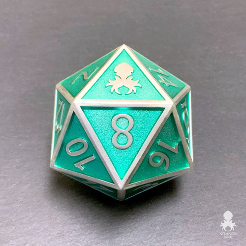 Teal Enamel Goliath 40mm Single D20