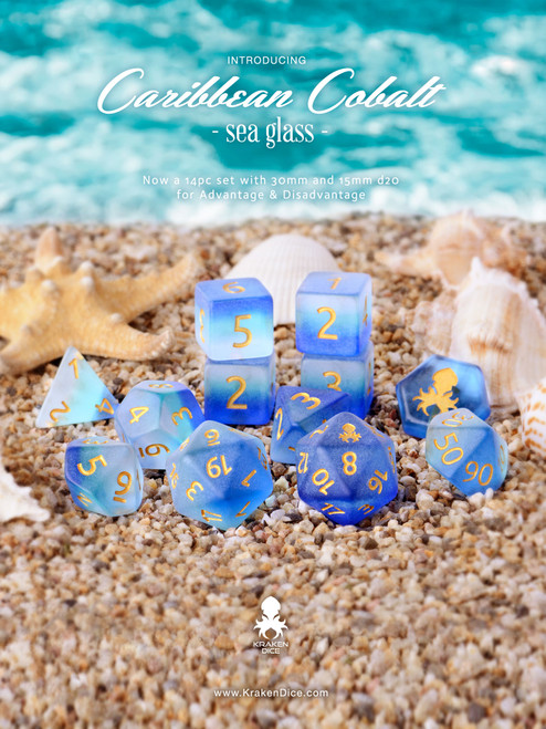 Caribbean Cobalt 14pc Matte Dice Set With Kraken Logo