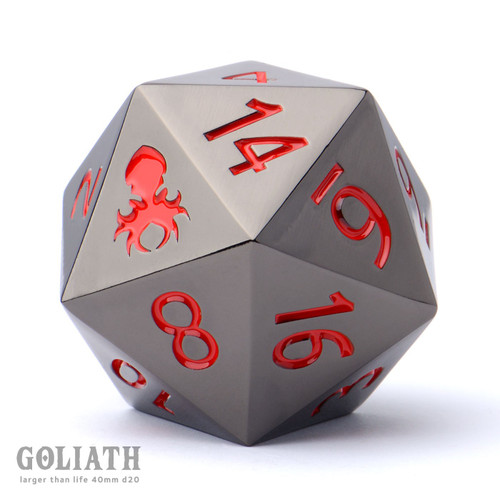 Goliath Black Chrome with Red 40mm Single D20