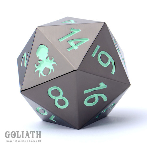 Goliath Black Chrome with Teal 40mm Single D20