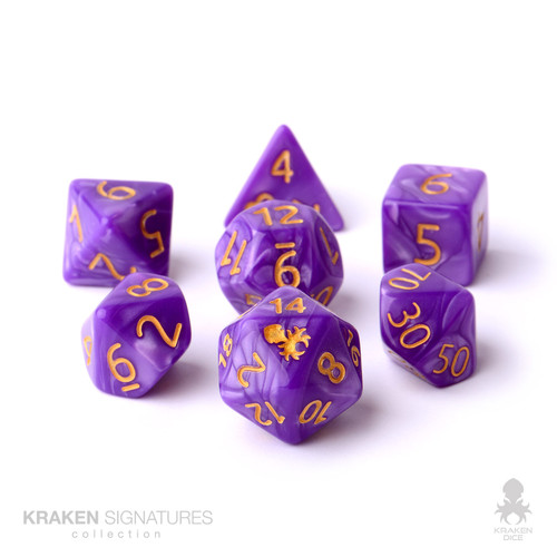 Kraken Signature's 7pc Purple with Gold Ink Polyhedral RPG Dice Set