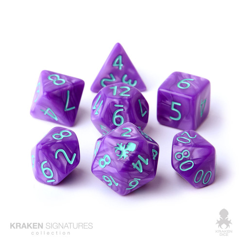 Kraken Signature's 7pc Purple with Teal Ink Polyhedral RPG Dice Set