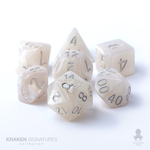 Kraken Signature's 7pc White with Silver Ink Polyhedral RPG Dice Set
