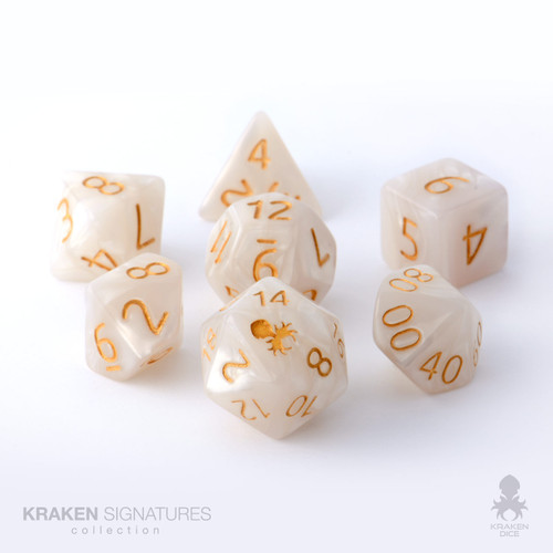 Kraken Signature's 7pc White with Gold Ink Polyhedral RPG Dice Set