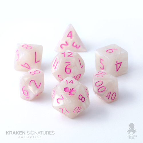 Kraken Signature's 7pc White with Pink Ink Polyhedral RPG Dice Set