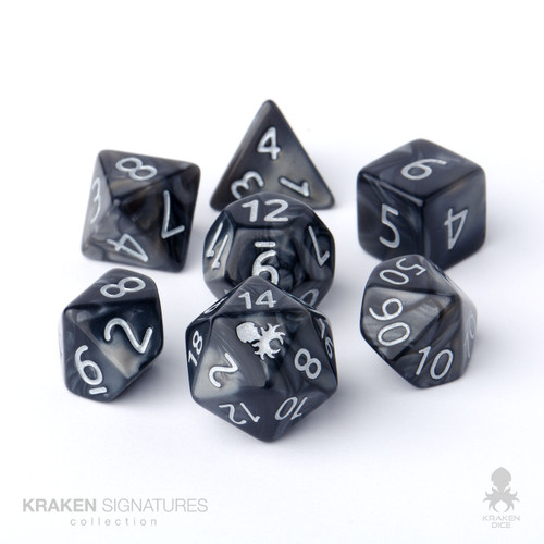 Kraken Signature's 7pc Black with Silver Ink Polyhedral RPG Dice Set