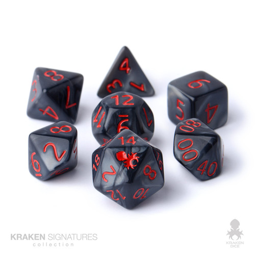 Kraken Signature's 7pc Black with Red Ink Polyhedral RPG Dice Set