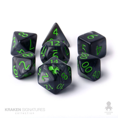 Kraken Signature's 7pc Black with Green Ink Polyhedral RPG Dice Set