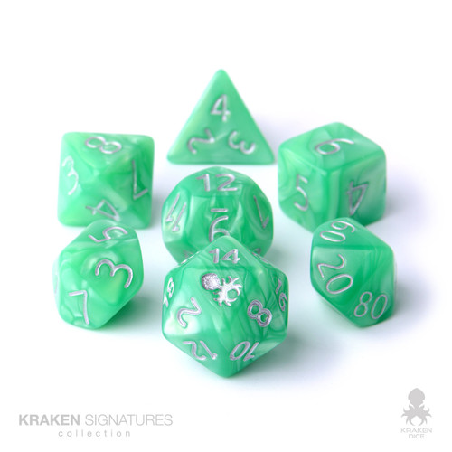 Kraken Signature's 7pc Spring Green with Silver Ink Polyhedral RPG Dice Set