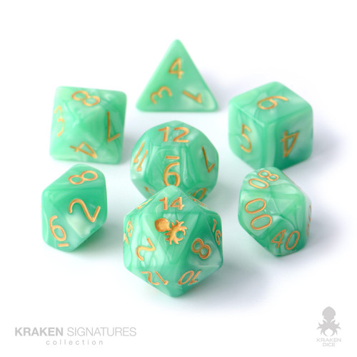 Kraken Signature's 7pc Spring Green with Gold Ink Polyhedral RPG Dice Set